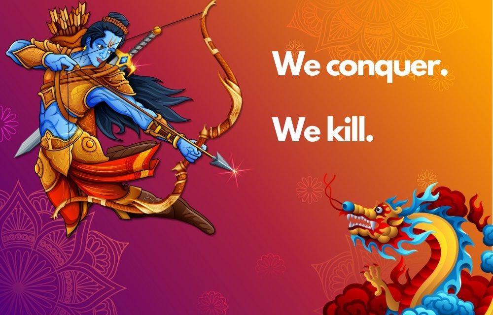Hong Kong Twitter user's war poster showcasing Rama slaying Chinese dragon wins in excess of Indians
