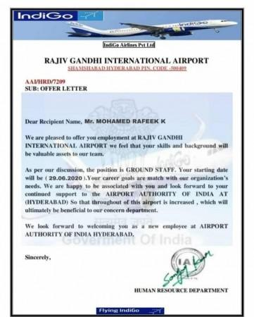 Shagzil Khan posts scam email offer letter from Indigo Airlines
