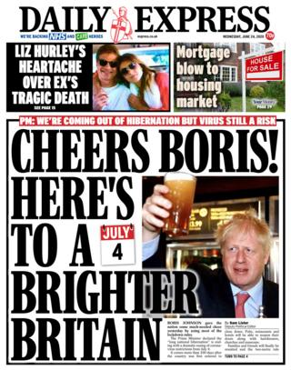 The Daily Express front page 24.06.20