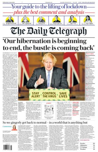 The Daily Telegraph front page 24.06.20