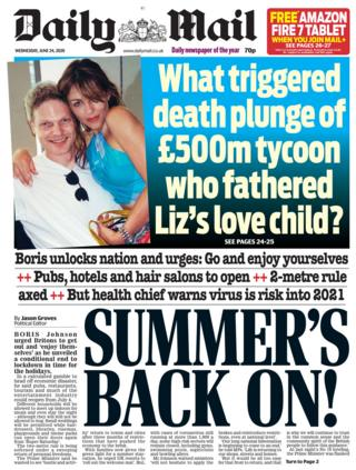 The Daily Mail front page 24.06.20
