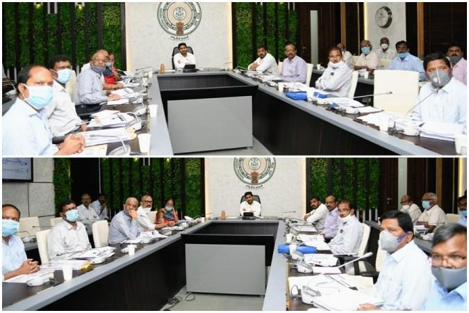 AP CM YS Jagan Mohan Reddy with officials at review meeting