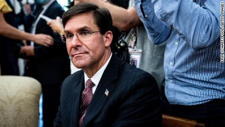 U.S. Secretary of Defense Mark Esper attends a meeting with Polish President Andrzej Duda and U.S. President Donald Trump in the Oval Office of the White House on June 24, 2020 in Washington, DC.