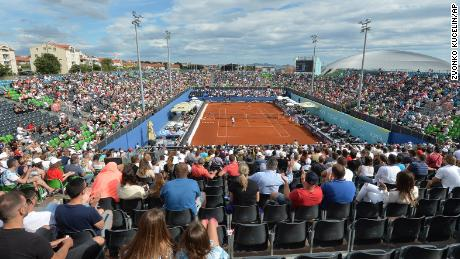 Spectators watching matches at the Adria Tour in Zahar, Croatia on Sunday June 21, 2020. Later that day, tennis player Grigor Dimitrov said he had tested positive for Covid-19, leading to the cancellation of the entire Adria Tour.