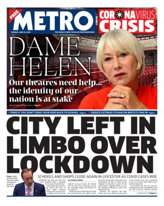 Metro front page 30.06.20