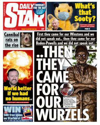 Daily Star front page 30.06.20