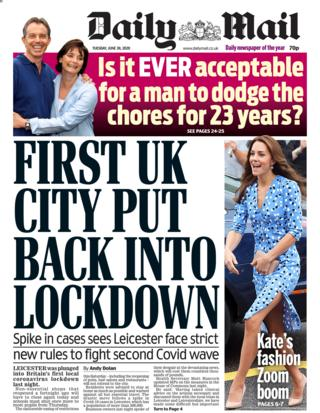 Daily Mail front page 30.06.20