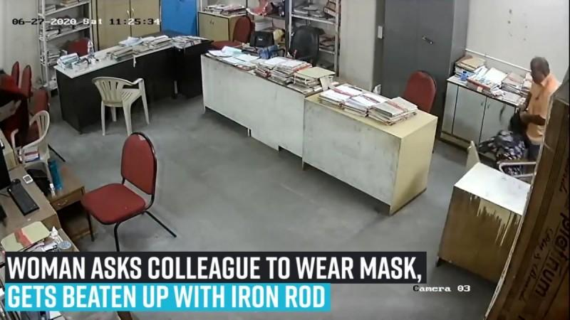 Woman asks colleague to wear mask, gets beaten up with iron rod