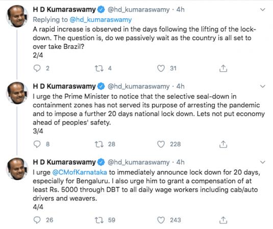 HD Kumaraswamy tweets