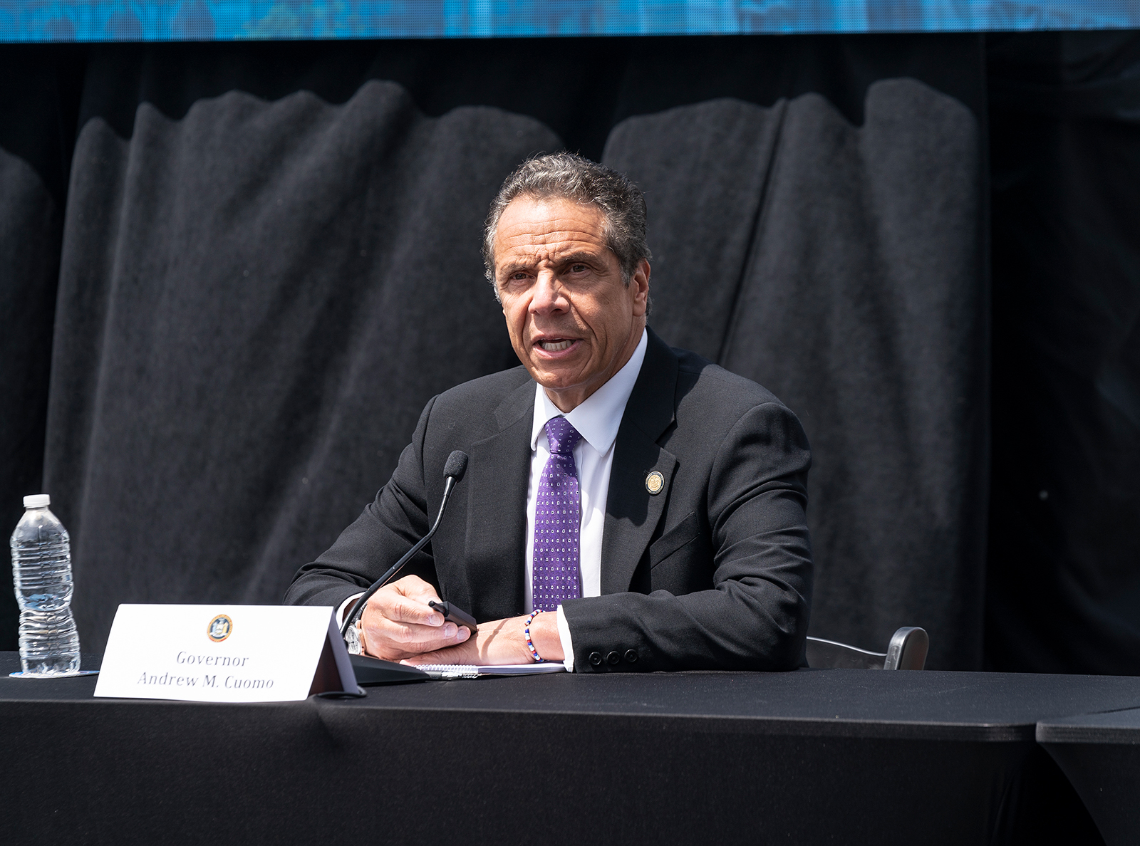 Governor Andrew Cuomo speaks at a daily press briefing in Tarrytown, New York on June 15.
