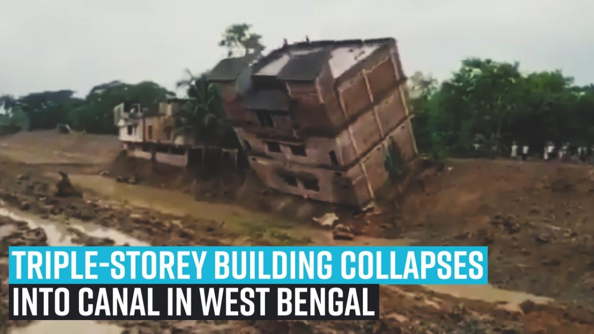 Triple-storey building collapses into canal in West Bengal