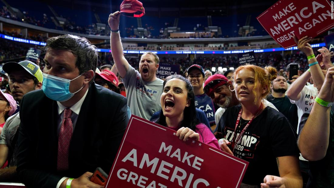 Trump campaign had social distancing stickers removed before Tulsa rally