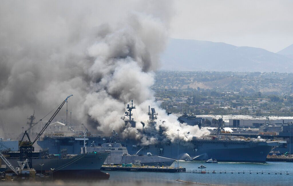 Fireplace however burns on USS Bonhomme Richard, lead to unknown