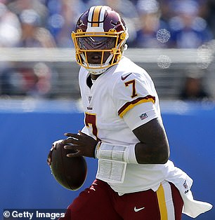 Dwayne Haskins #7 of the Washington Redskins in action against the New York Giants at MetLife Stadium on September 29, 2019 in East Rutherford, New Jersey