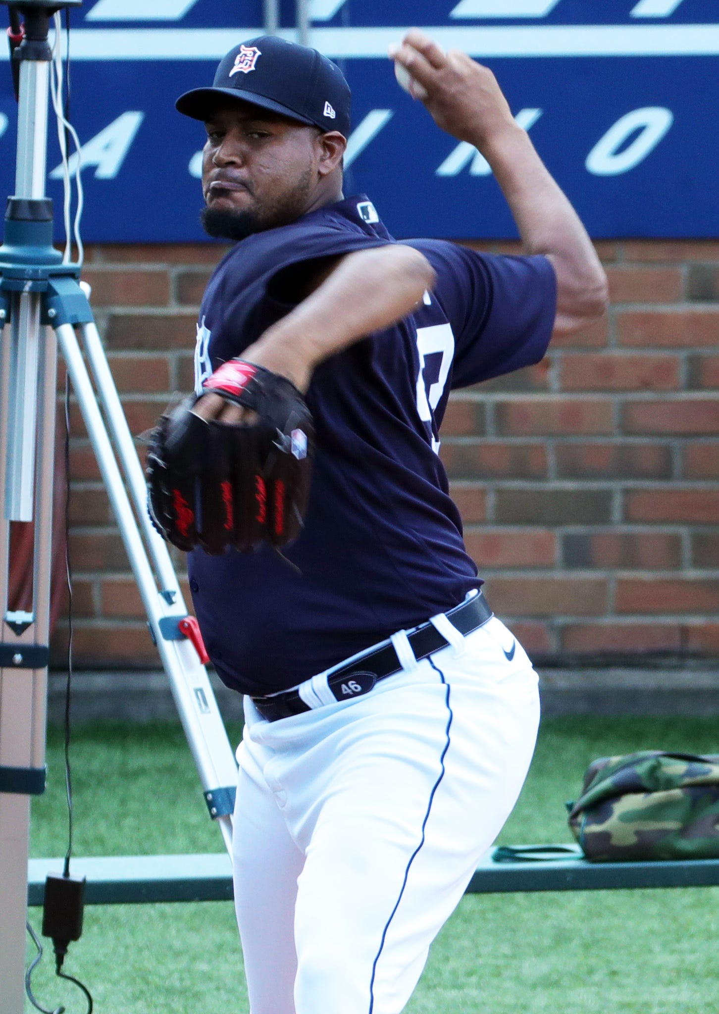 Detroit Tigers pitcher Ivan Nova throws in the bullpen during practice at Comerica Park on July 5, 2020.
