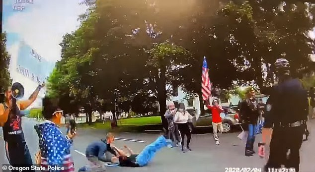 Authorities said the incident sparked after a counter-protester was shoved to the ground by another man during the demonstration