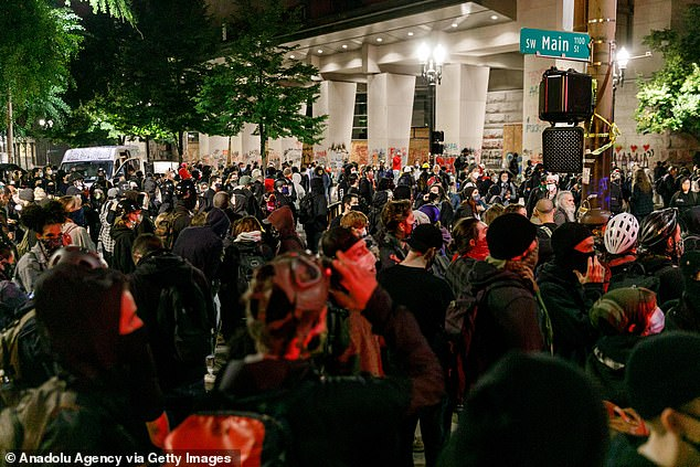 Pictured:Black Lives Matter supporters demonstrate in Portland, Oregon, on the Fourth of July