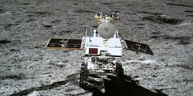 China's Chang'e 4 moon rover, known as Yutu 2, photographed by the Chang'e 4 lander on the moon's far side.