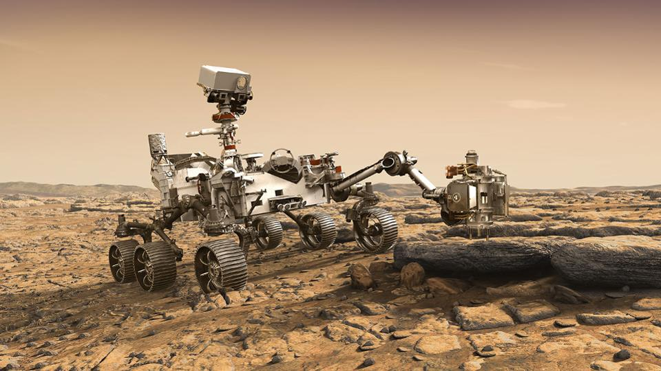 Illustration of NASA's Mars 2020 Perseverance rover studying a Mars rock outcrop (not to scale). Mars 2020 is targeted for launch in July/August 2020 aboard an Atlas V-541 rocket from Space Launch Complex 41 at Cape Canaveral Air Force Station in Florida.