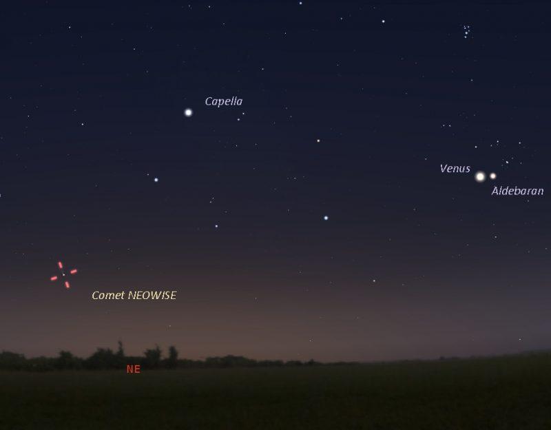 Chart of sky showing Venus, Aldebaran, Capella, and location of comet.