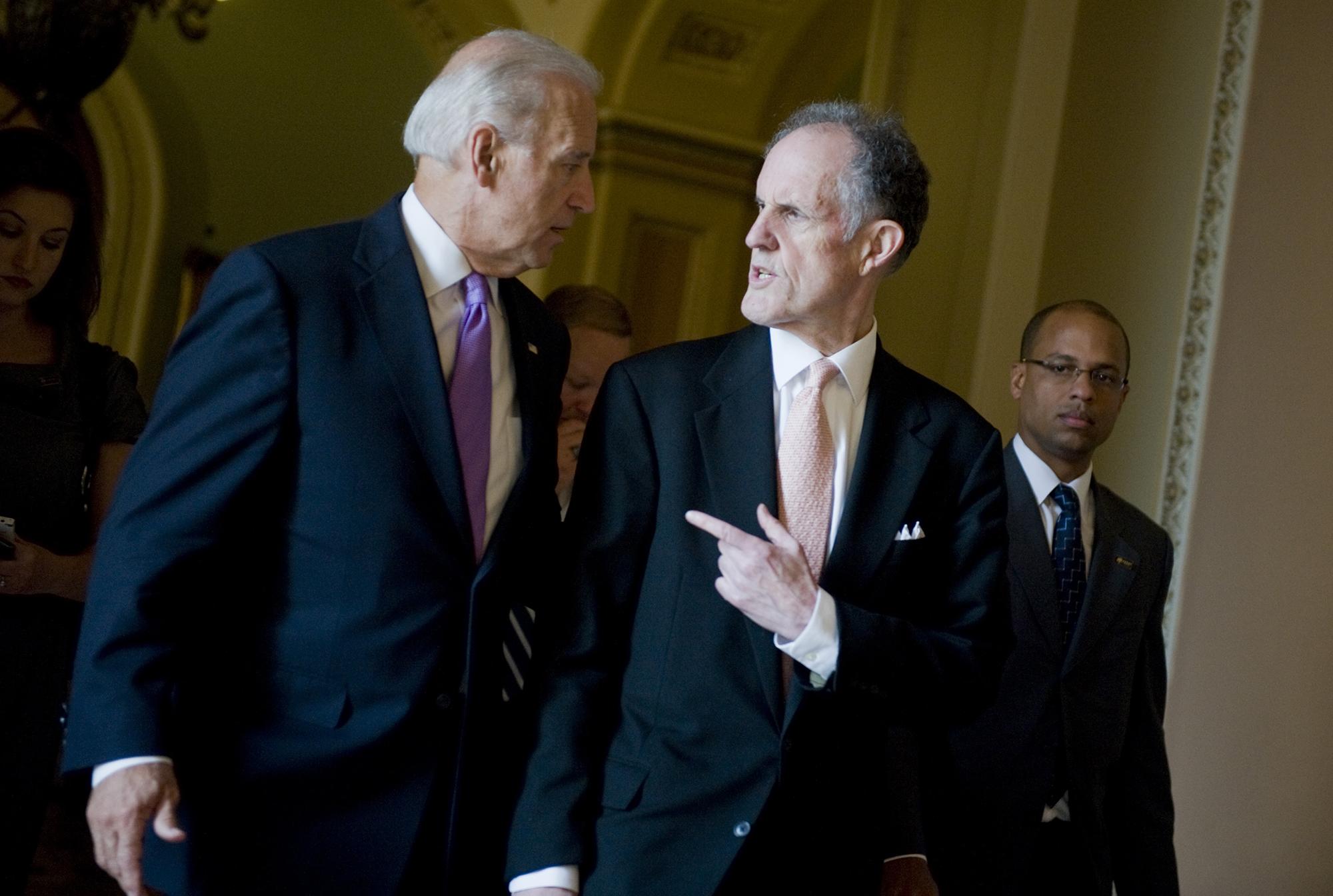 Vice President Joe Biden talks with Sen. Ted Kaufman
