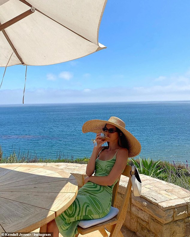 Getaway:She has been enjoying an idyllic summer as she hunkers down at her older sister Kourtney Kardashian's beachfront rental properly in Malibu; Kendall pictured on Instagram on Sunday
