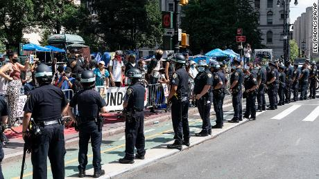 Woman arrested after NYPD chief and 3 officers injured following clash with protesters