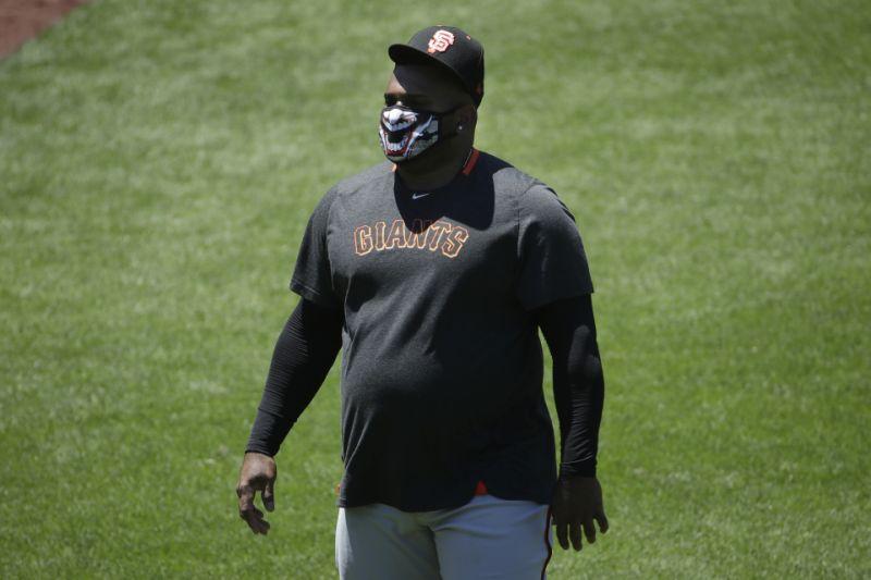 San Francisco Giants' Pablo Sandoval walks on the field during a baseball practice in San Francisco, Sunday, July 5, 2020. (AP Photo/Jeff Chiu)