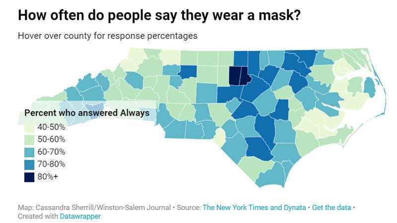 How often are people wearing masks in your county? Forsyth residents report higher use than their neighbors. | Local News