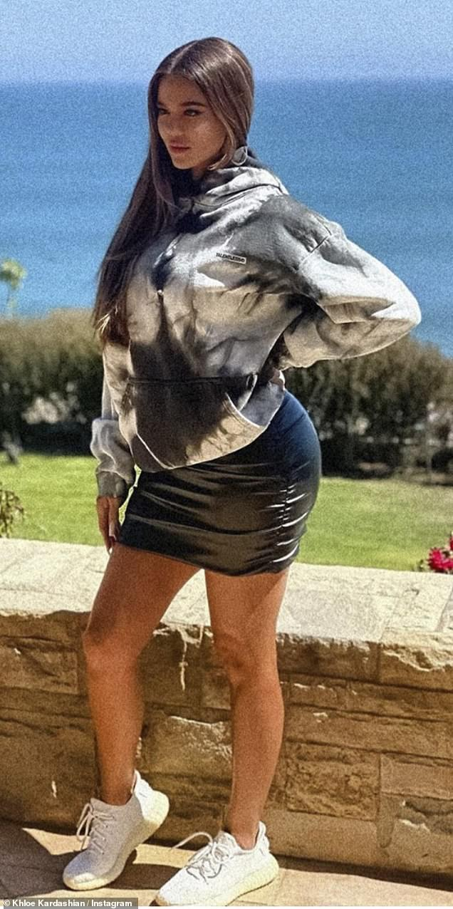 Wow factor: Khloe Kardashian took to her Instagram to share a snap of herself donning one of 37-year-old Talentless brand hoodies as she looked nearly unrecognizable (