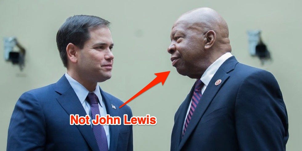 Marco Rubio perplexed Rep. John Lewis for a further late black lawmaker