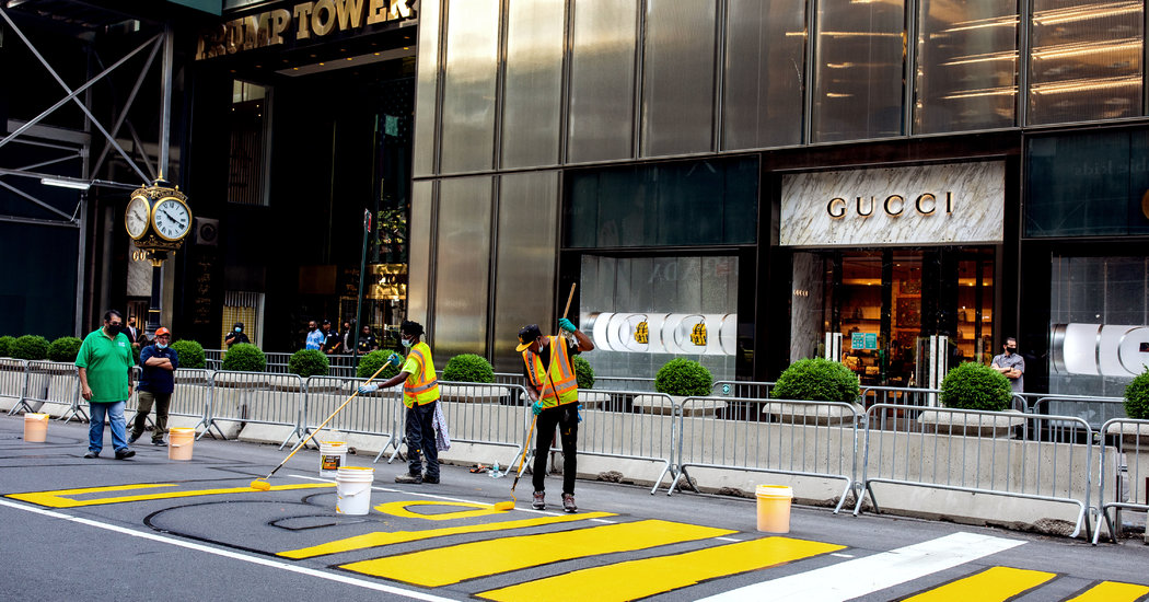 N.Y.C. Paints 'Black Lives Matter' in Front of Trump Tower