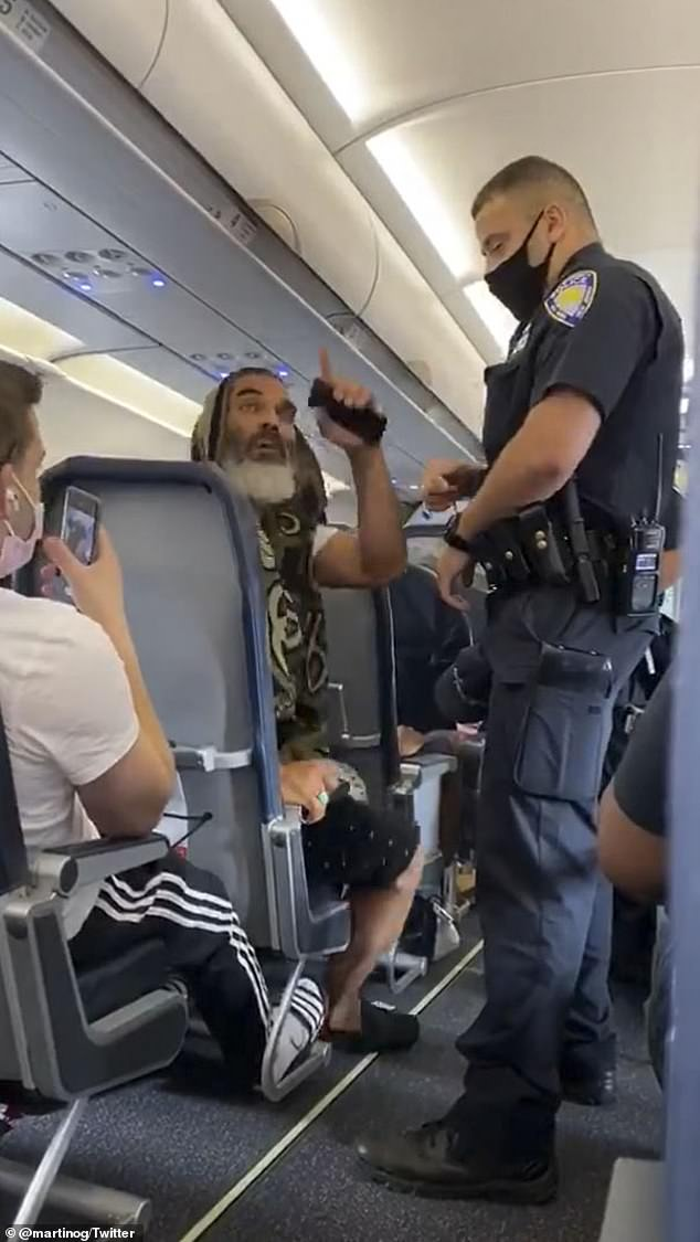 An unidentified man (left) on a Spirit Airlines flight to Fort Lauderdale, Florida, was kicked off his flight on Friday for not wearing a face mask