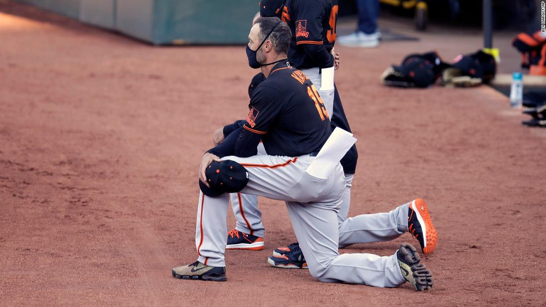 San Francisco Giants' gamers and manager kneel throughout countrywide anthem in exhibition video game against Oakland