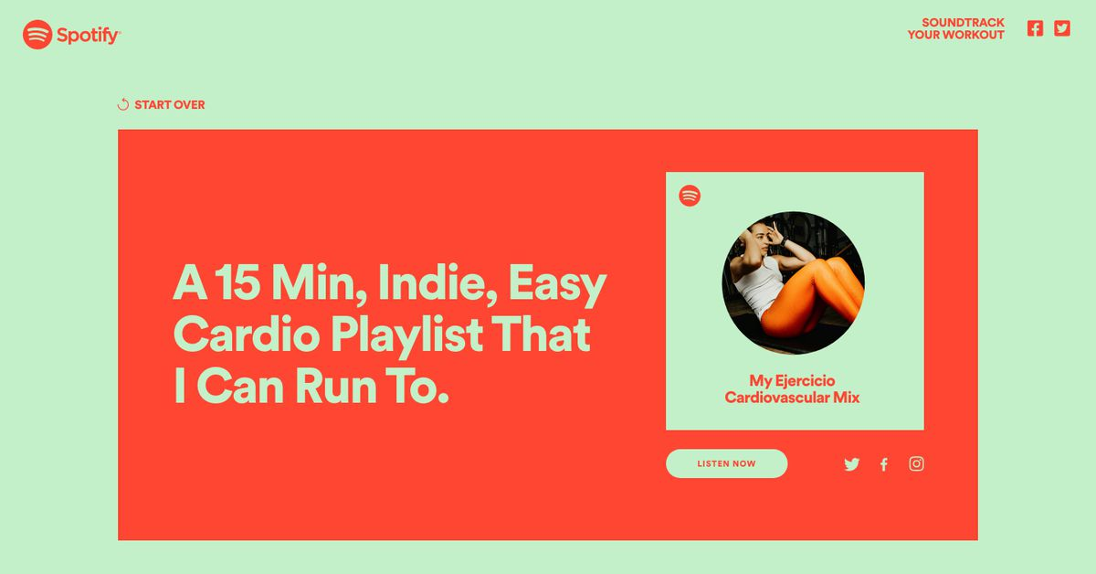 Spotify will now make you a custom workout playlist