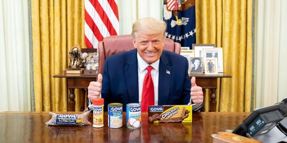 Trump posts photo alongside Goya products in the Oval Office