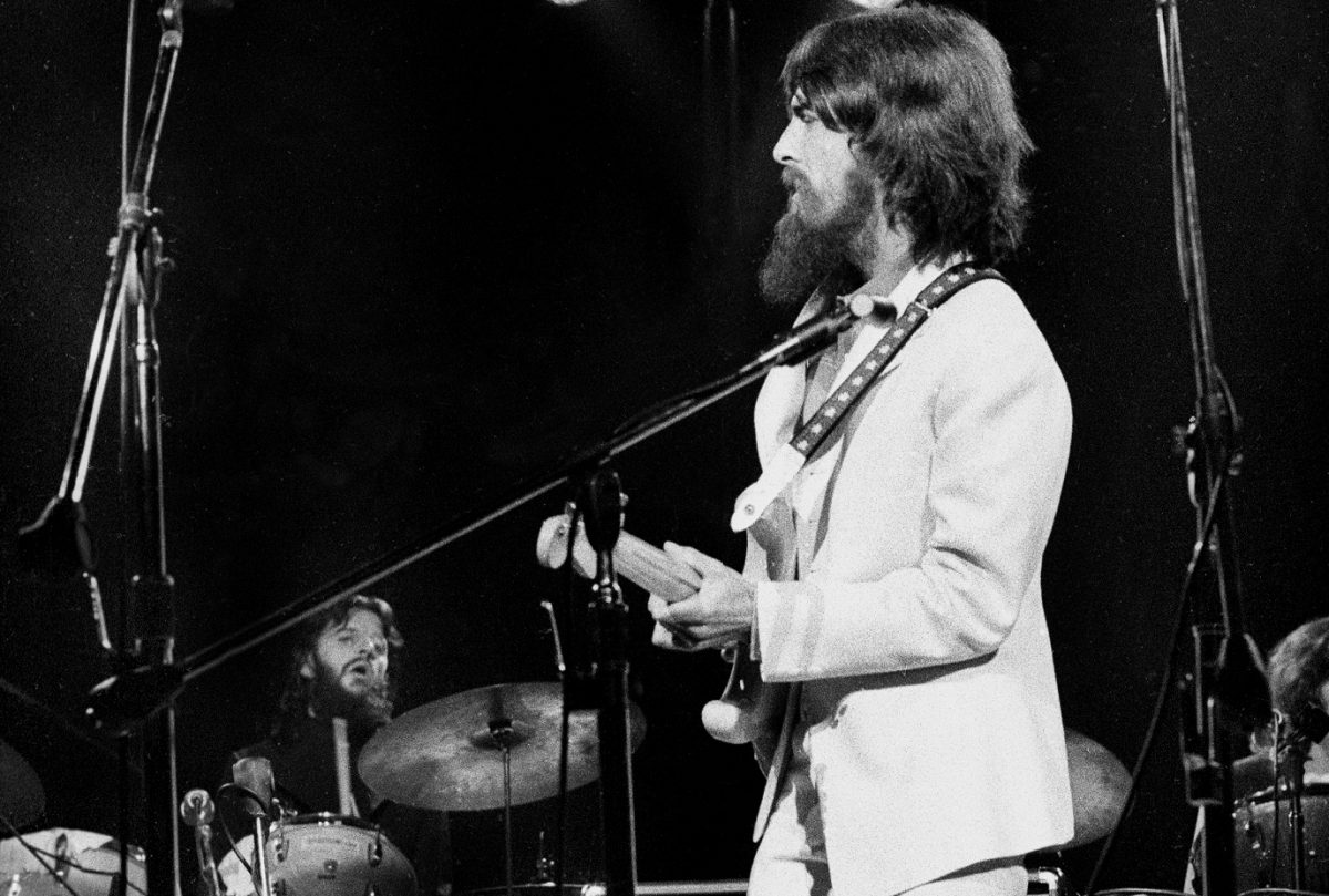 Ringo Starr and George Harrison perform at the Concert for Bangladesh in 1971.