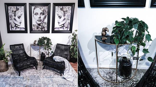 The chairs were painted black to give it a luxe feel and match the decor.