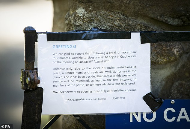 An information notice informs of the reopening of Crathie Kirk where the Queen usually attends the Sunday service