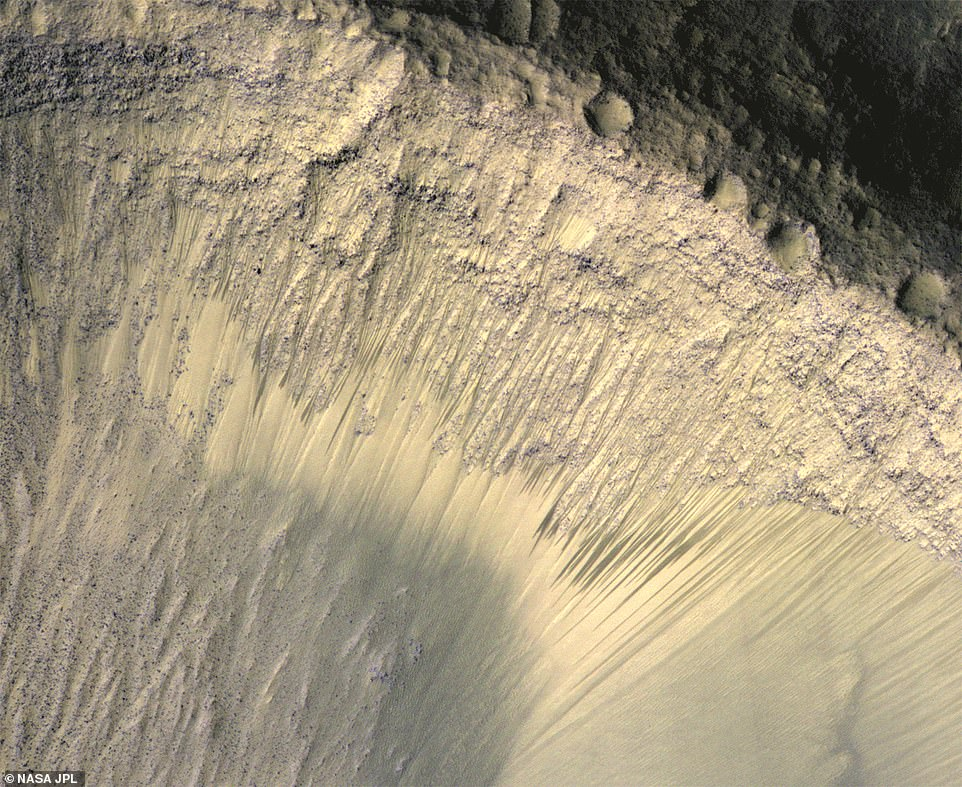This composite image shows how the appearance of dark markings on Martian slope changes with the seasons.These dark streaks appear in the same places at around the same times of year