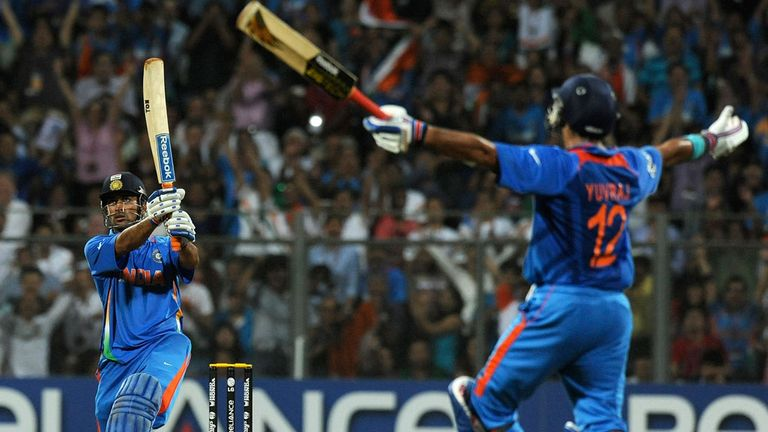 MS Dhoni hits the winning runs as India beat Sri Lanka in the 2011 Cricket World Cup final