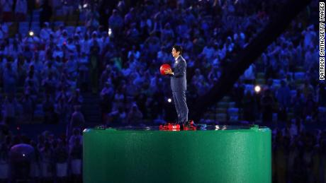 Abe appears during the flag handover segment of the 2016 Rio Olympics closing ceremony.