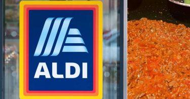 ALDI supermarket shopper's bolognese hack using Mediterranean Delite Garlic Dip and Colway's Caramelised Onion Relish