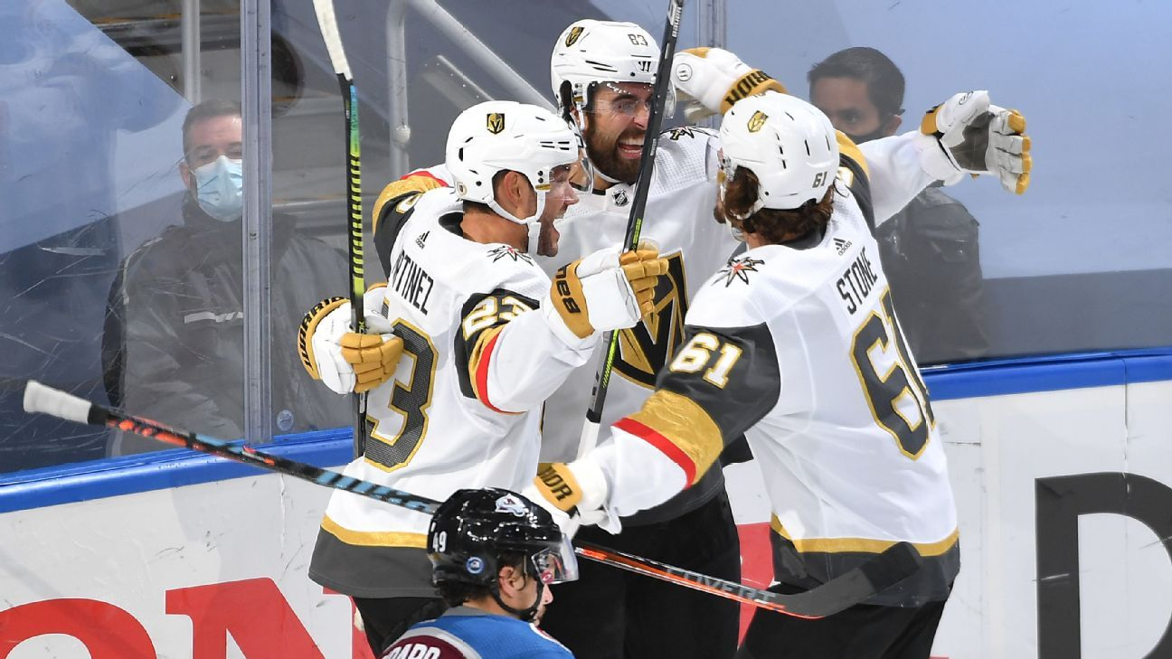 Alex Tuch's late OT goal vs. Avalanche gives surging Golden Knights No. 1 seed in West and first-round date vs. Blackhawks
