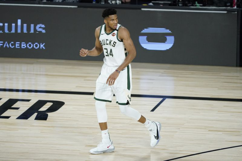 Giannis Antetokounmpo's Bucks did not take the court for their scheduled tipoff against the Magic on Wednesday. (AP Photo/Ashley Landis, Pool)
