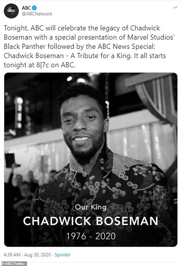 Airing Sunday night at 8pm (7pm central)! ABC will air a lifetime tribute special honoring the legacy of the late, great Chadwick Boseman following a commercial-free screening of Black Panther