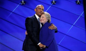 Hillary Clinton hugs Barack Obama at the Democratic convention in Philadelphia in July 2016.