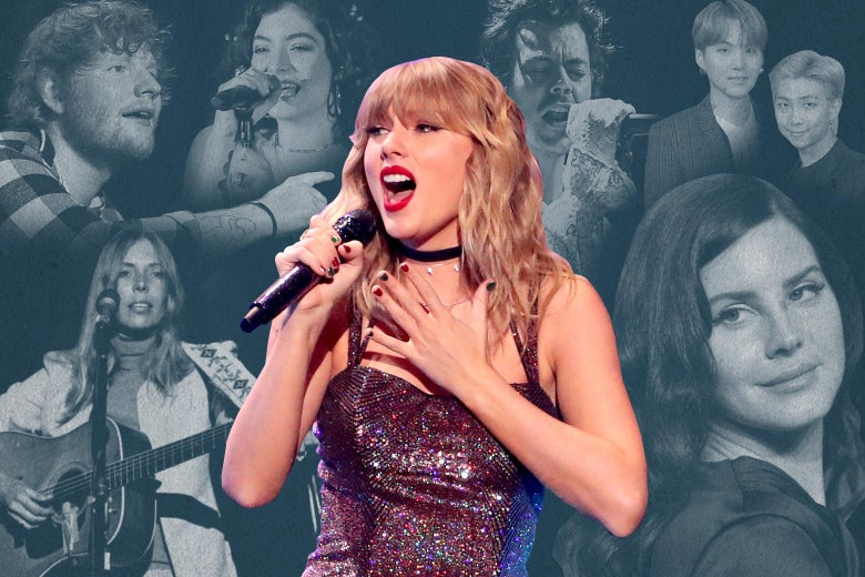 Cutout of Taylor Swift singing into a microphone, surrounded by a collage that includes Ed Sheeran, Lorde, Harry Styles, BTS's RM and Suga, Lana Del Rey, and Joni Mitchell.