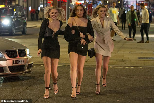 Ministers have spoken out against plans to require people to be protected based on their age, and they are concerned that if the infection is allowed to rise in the youth, it will eventually spread to the most vulnerable members of society. Pictured, Ladies at Night in Soho on August 29th