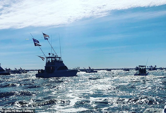 New Jersey: Several Trump supporters gathered together in a cruise convoy in Barnegat Bay, NJ
